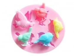 Moule en silicone rose - moineaux / oiseaux Fimo - 1