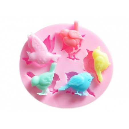 Pink silicone mould - Sparrows / Birds