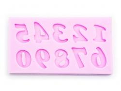 Moule en silicone rose - chiffres