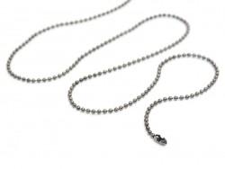 Collier chaine bille noir métallisé - 60 cm  - 1