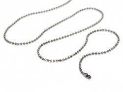 Metallic black ball chain necklace - 60 cm