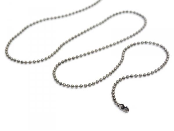 Collier chaine bille noir métallisé - 60 cm