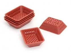 Corbeille miniature en plastique rouge