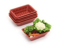Roter Miniaturkorb aus Kunststoff