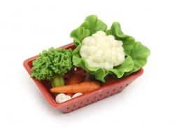 Red miniature plastic basket