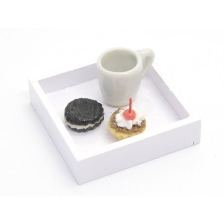 1 wooden square miniature tray - white