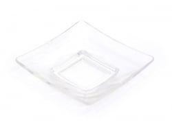 Assiette carrée - transparente en plastique  - 1