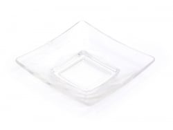 Square plate - transparent, made of plastic