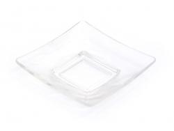 Viereckiger Teller - durchsichtig, aus Kunststoff