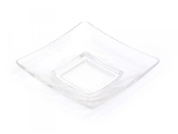 Square plate - transparent, made of plastic