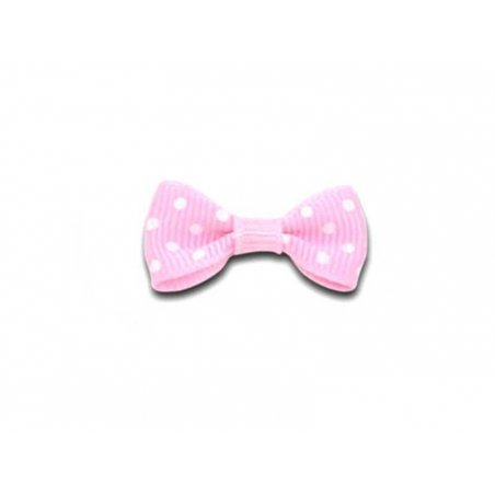 Light pink bow with polka dots - 3 cm