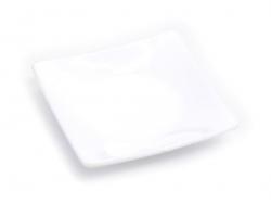 Assiette carrée - blanche en plastique  - 1