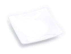 Viereckiger Plastikteller - weiß