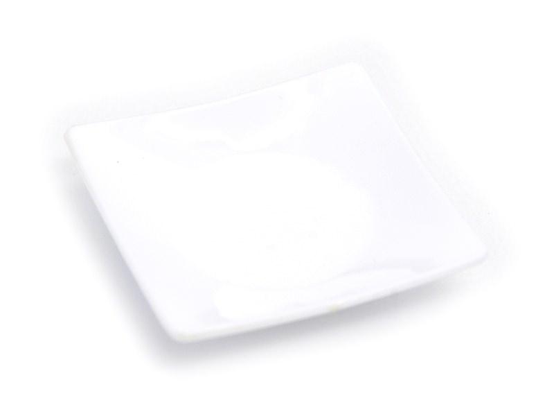 Square plastic plate - white