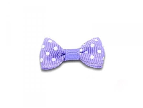 Mauve-coloured bow with polka dots - 3 cm