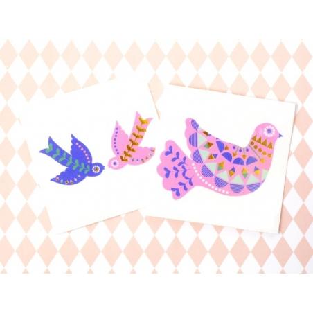 2 Tatouages colombes ethniques - rose, bleu, vert, or