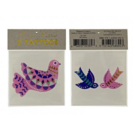 2 Tatouages Colombes Ethniques Rose Bleu Vert Or