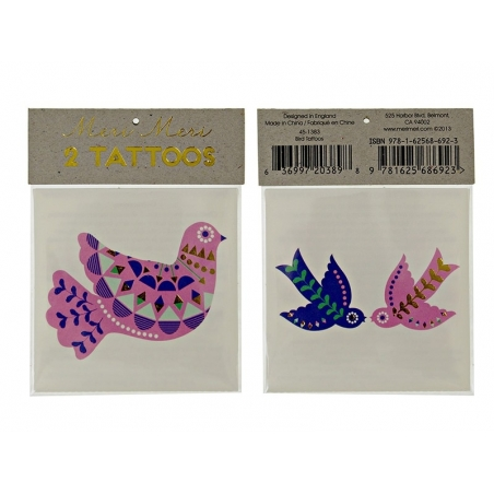 2 tattoos -ethnic doves - pink, blue, green, and gold