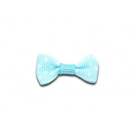 Noeud bleu clair à pois - 3 cm  - 1