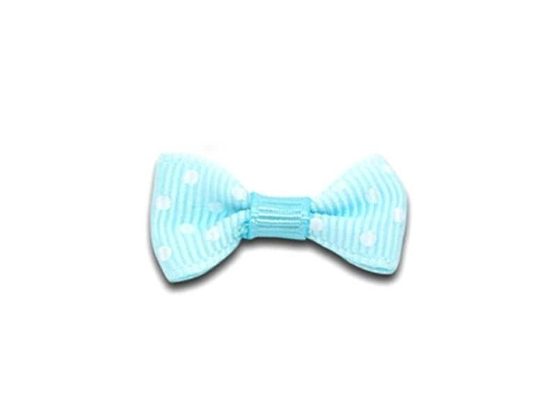 Light blue bow with polka dots - 3 cm
