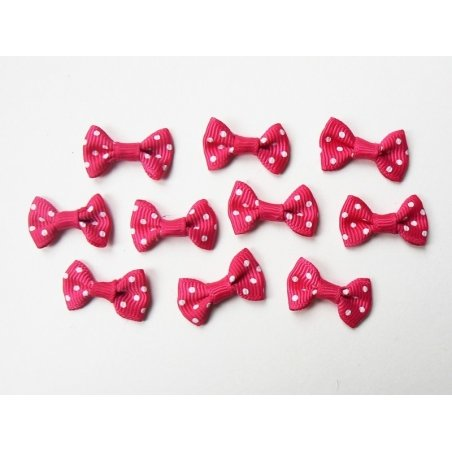 Fuchsia pink bow with polka dots - 3 cm