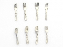 Set of 8 miniature forks - 1.2 cm