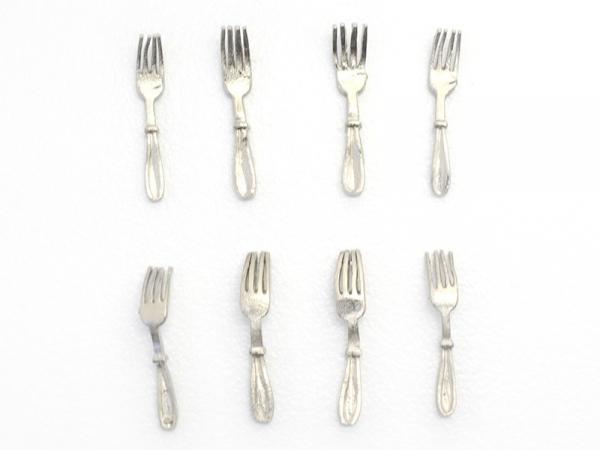 Set of 8 miniature forks - 1.2 cm
