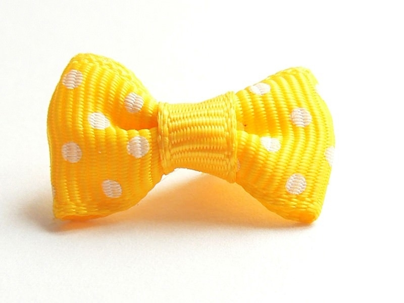 Yellow bow with polka dots - 3 cm