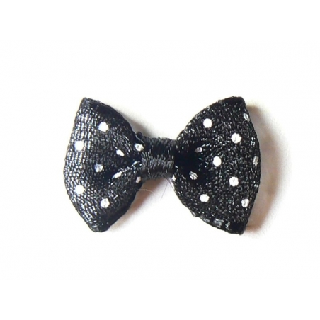 Black tulle bow with polka dots - 2 cm