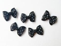Noeud noir à pois en tulle - 2 cm