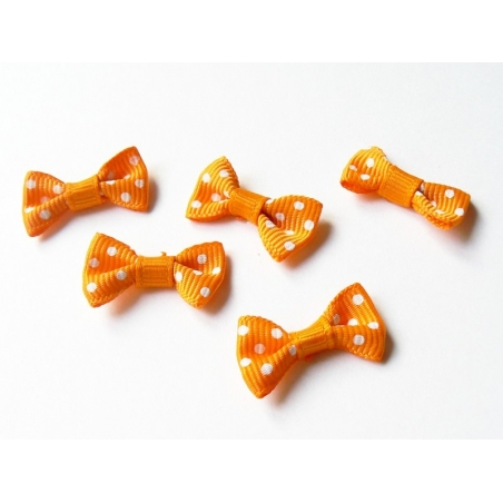 Orange bow with polka dots - 3 cm
