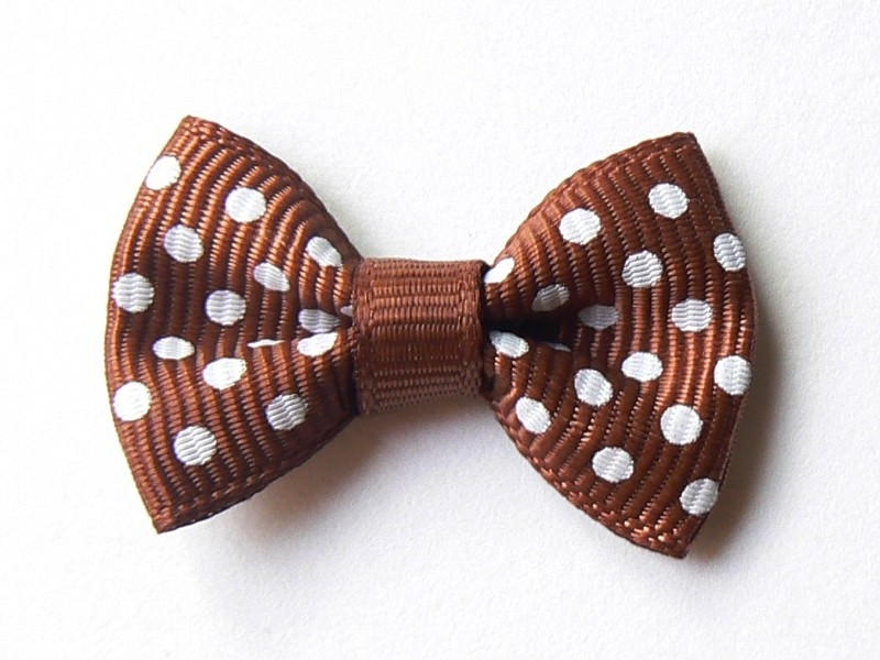 Brown bow with polka dots - 3 cm