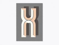 Heft mit Grafikdruck - Buchstabe X