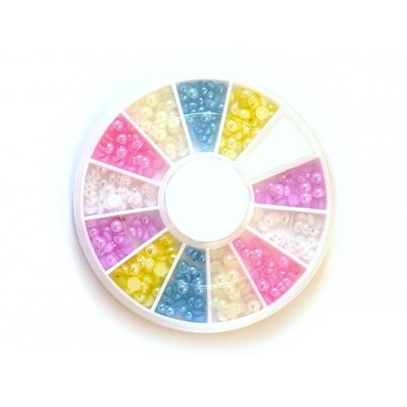 Boite de mini cabochons ronds pastels - 3 mm