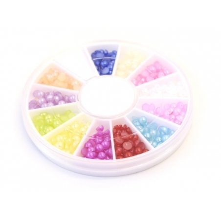 Box with small, round cabochons - 3 mm