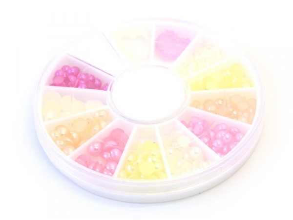 Box with small, round cabochons in pink shades -3 mm