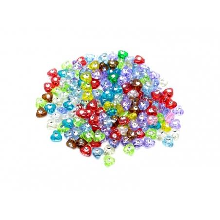 Set of 50 heart-and diamond-shaped beads