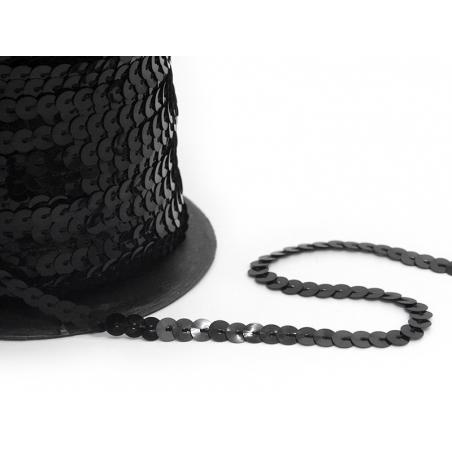 Sequin ribbon (1 m) - black (6 mm x 6 mm)