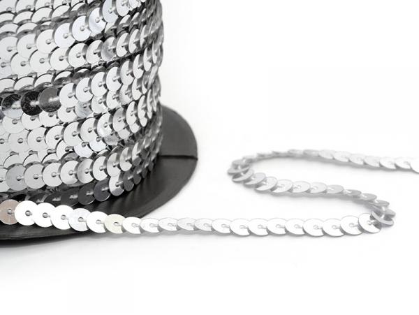 Sequin ribbon (1 m) - silver (6 mm x 6 mm)