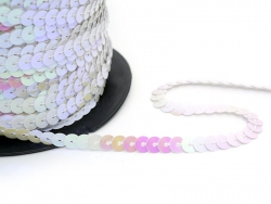 Sequin ribbon (1 m) - pearlised white (6 mm x 6 mm)
