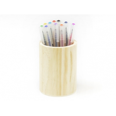 Customisable round wooden pen holder