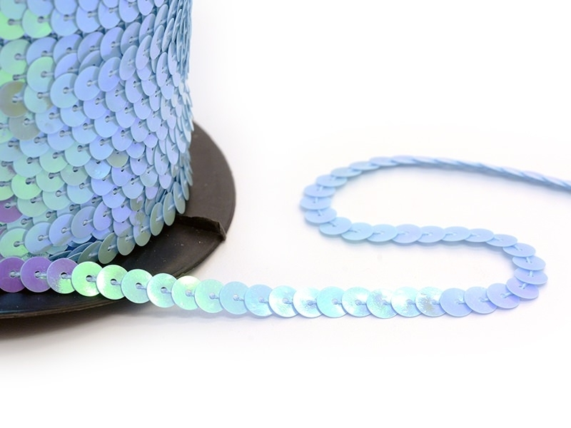 Sequin ribbon (1 m) - pearlised blue (6 mm x 6 mm)