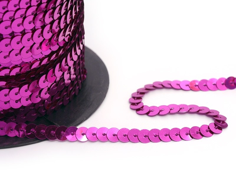 Sequin ribbon (1 m) - metallic pink (6 mm x 6 mm)