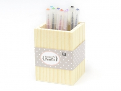 Customisable square wooden pen holder