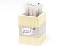 Customisable square wooden pen holder