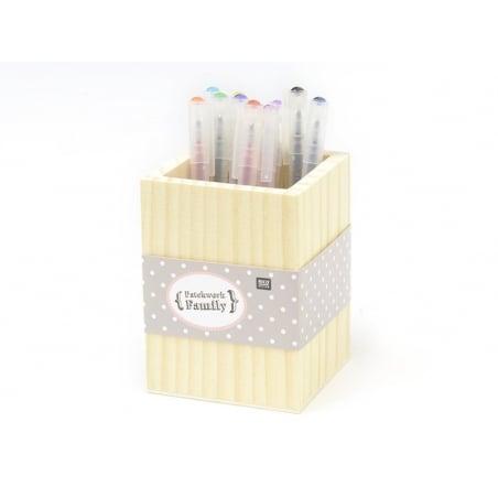Acheter Pot à crayons carré en bois à customiser - 4,20€ en ligne sur La Petite Epicerie - Loisirs créatifs