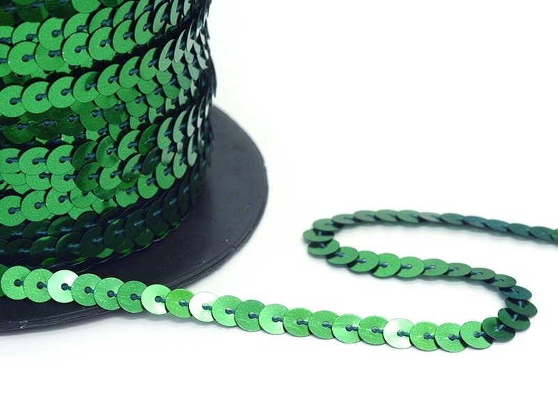 Sequin ribbon (1 m) - metallic green (6 mm x 6 mm)