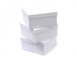 Viereckige Schachtel - 14 cm - weiße Pappe