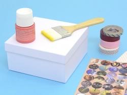 Square box - 14 cm - white cardboard