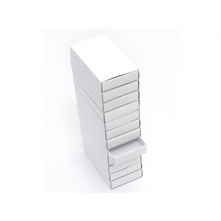 Set of 12 big white matchboxes